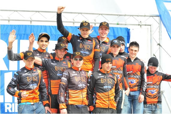 Mountain Mayhem Open Podium 2008 with leaders jerseys